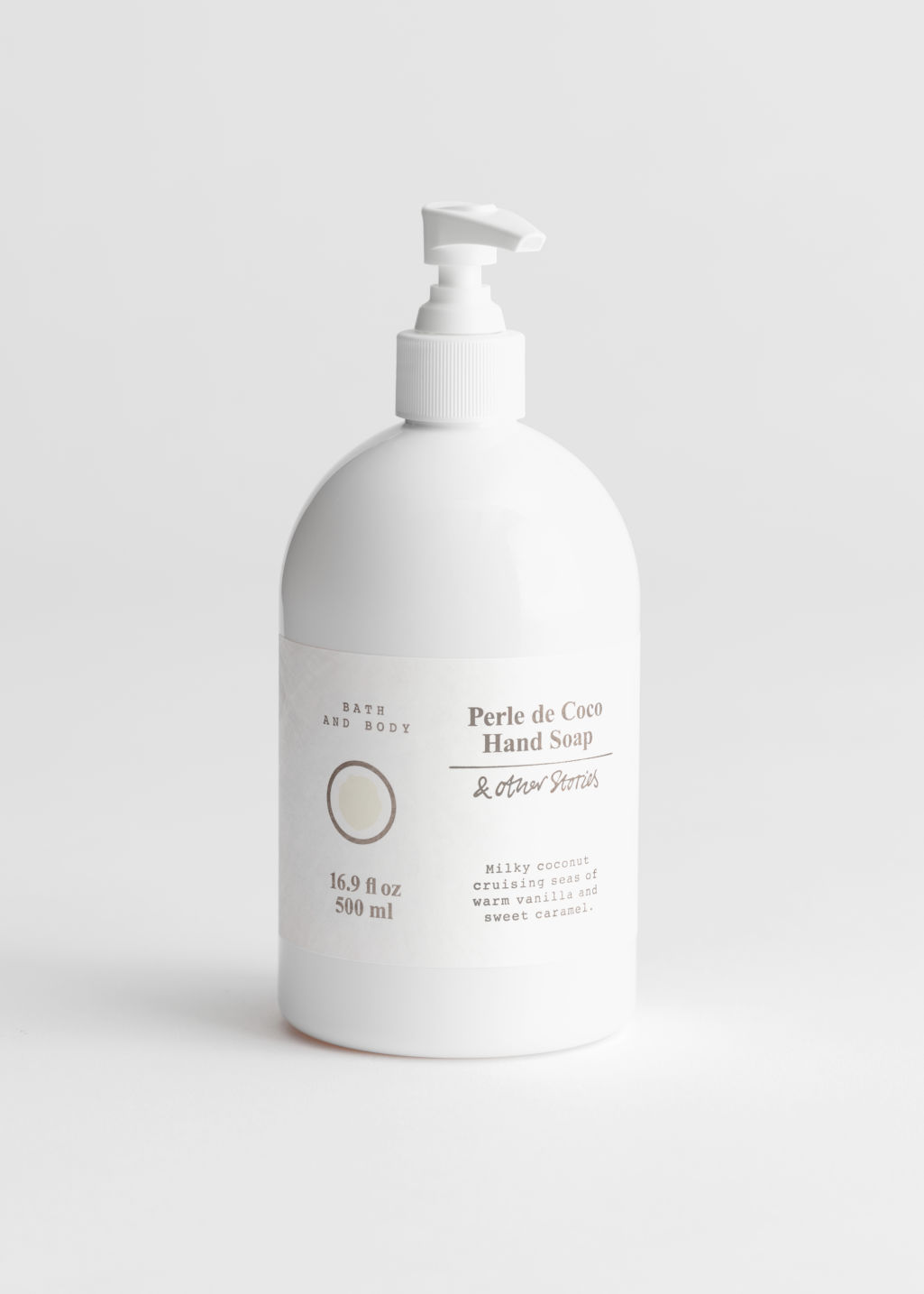 Front image of Stories hand soap perle de coco in white