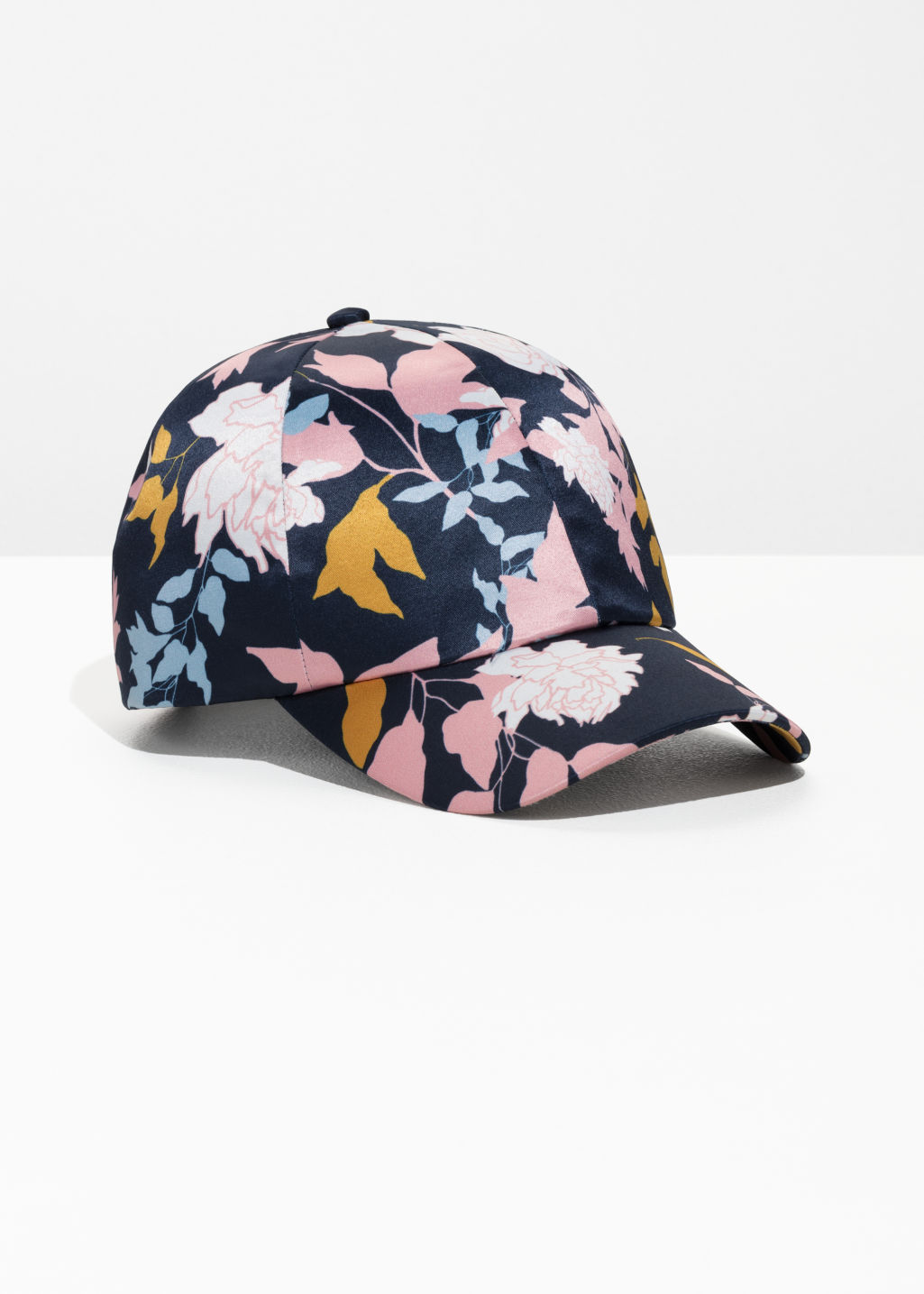 Front image of Stories printed satin cap  in blue