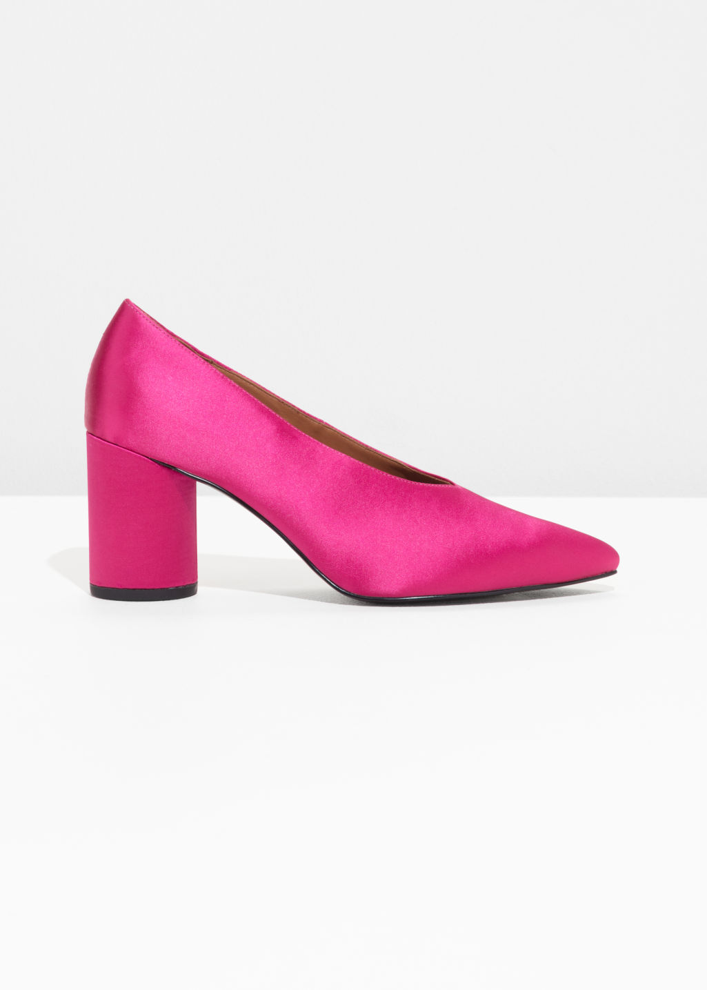 Front image of Stories satin pumps in pink