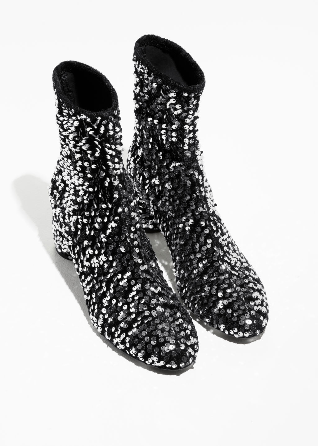 Back image of Stories sequin velvet boots in silver