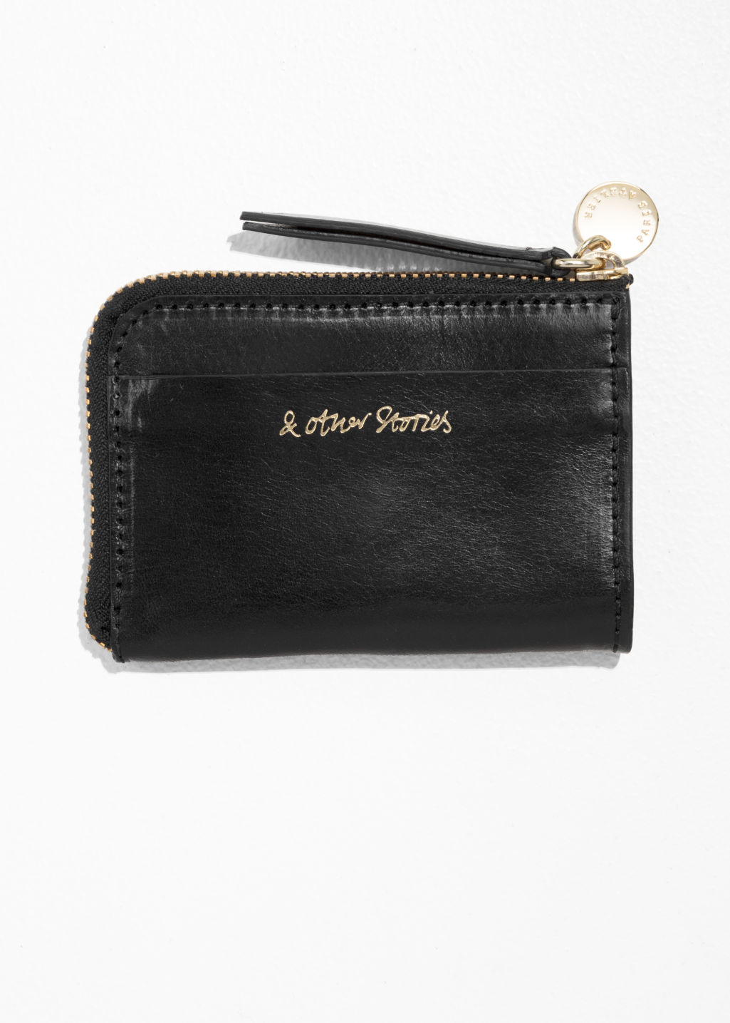Back image of Stories charm mini wallet in black