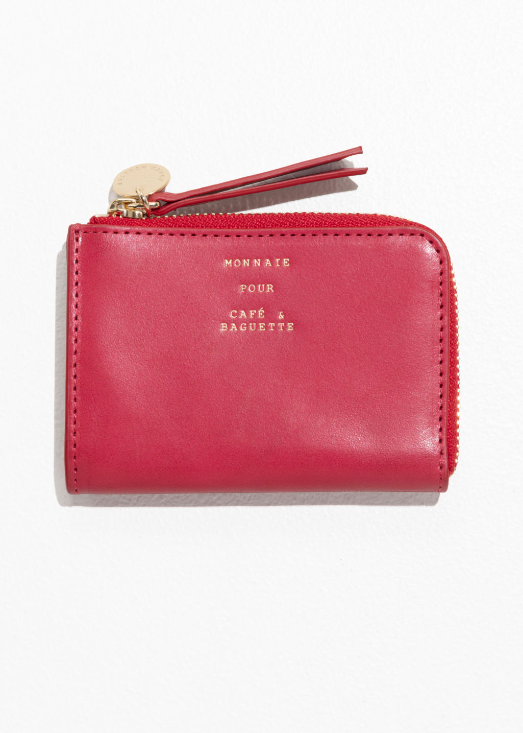 Front image of Stories charm mini wallet in red