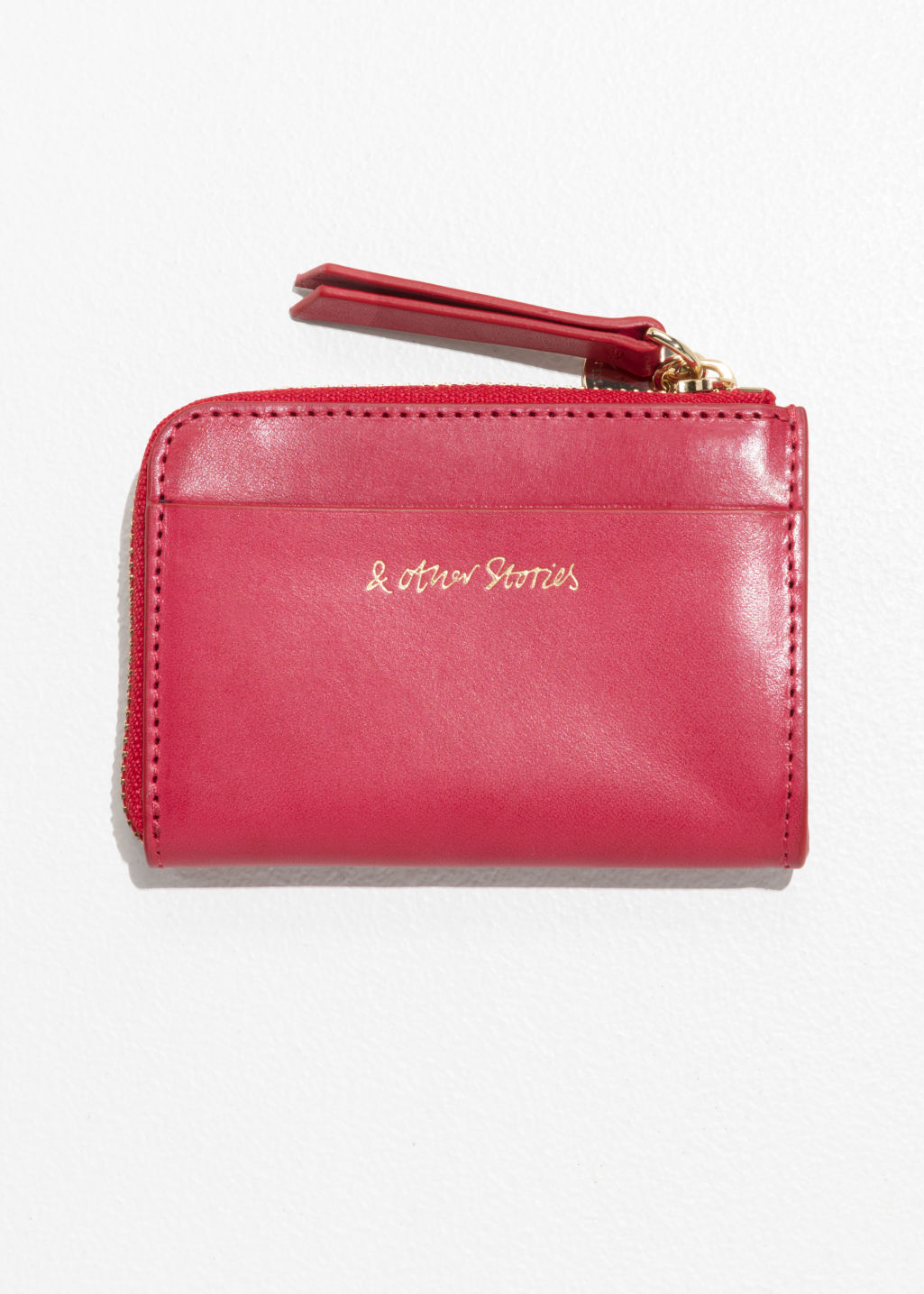 Back image of Stories charm mini wallet in red