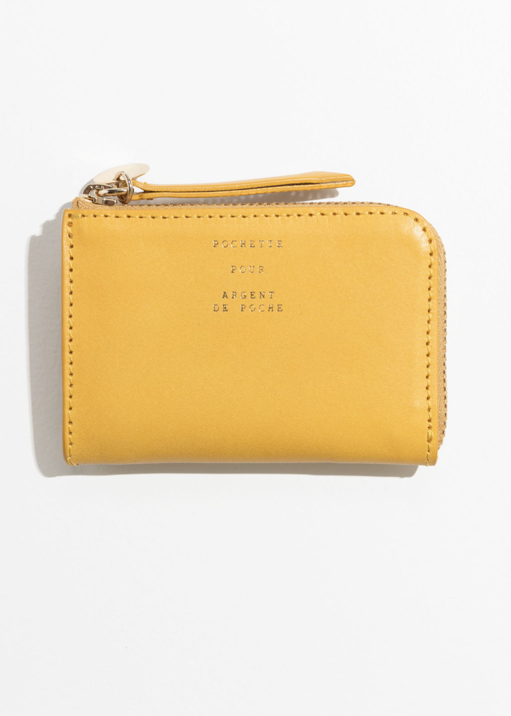 Back image of Stories charm mini wallet in yellow