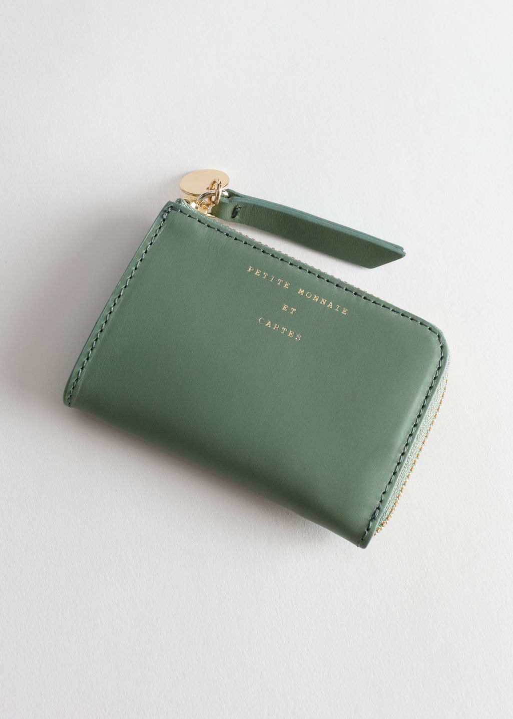 Back image of Stories charm mini wallet in green