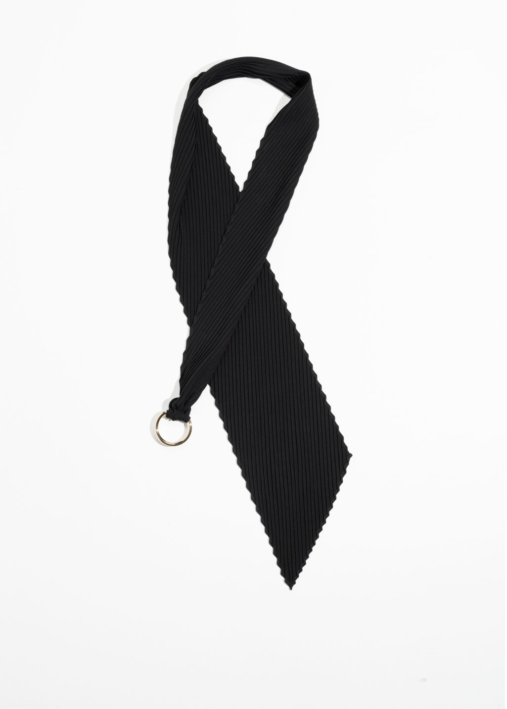Front image of Stories o-ring neck scarf  in black