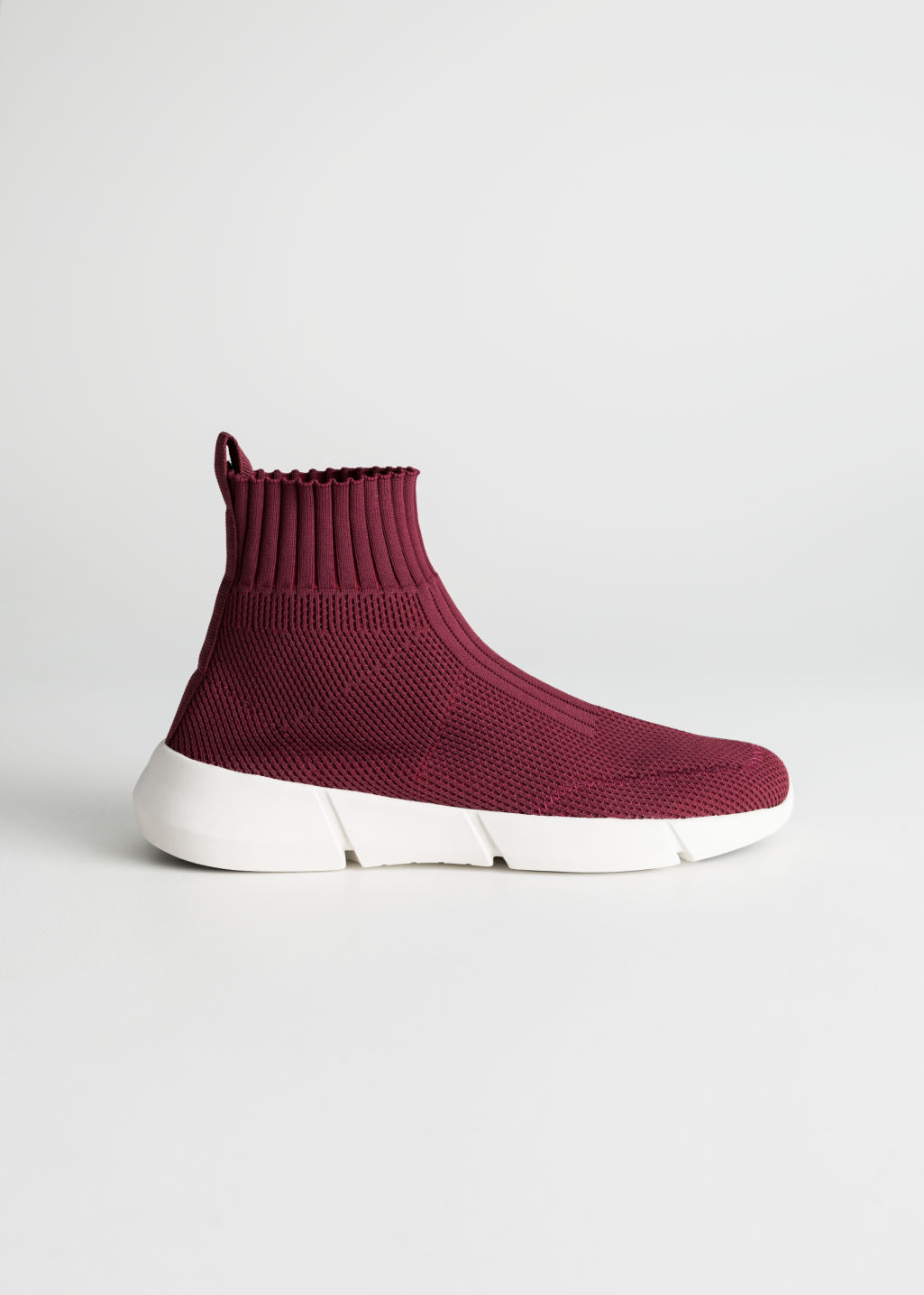 Front image of Stories sock sneaker  in red