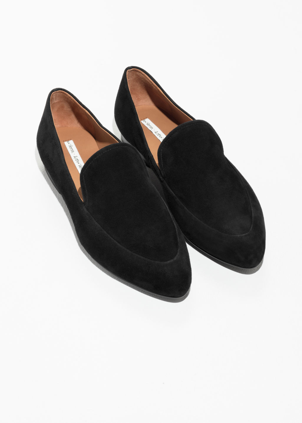 Back image of Stories suede almond toe loafers in black