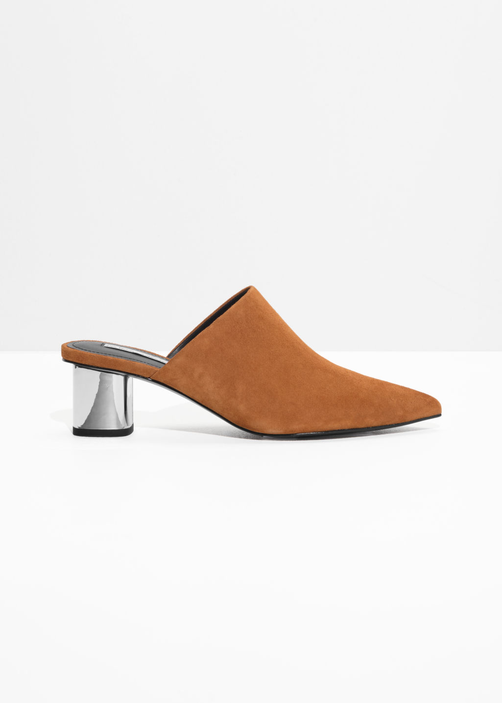 Front image of Stories pointed block heel mules  in brown