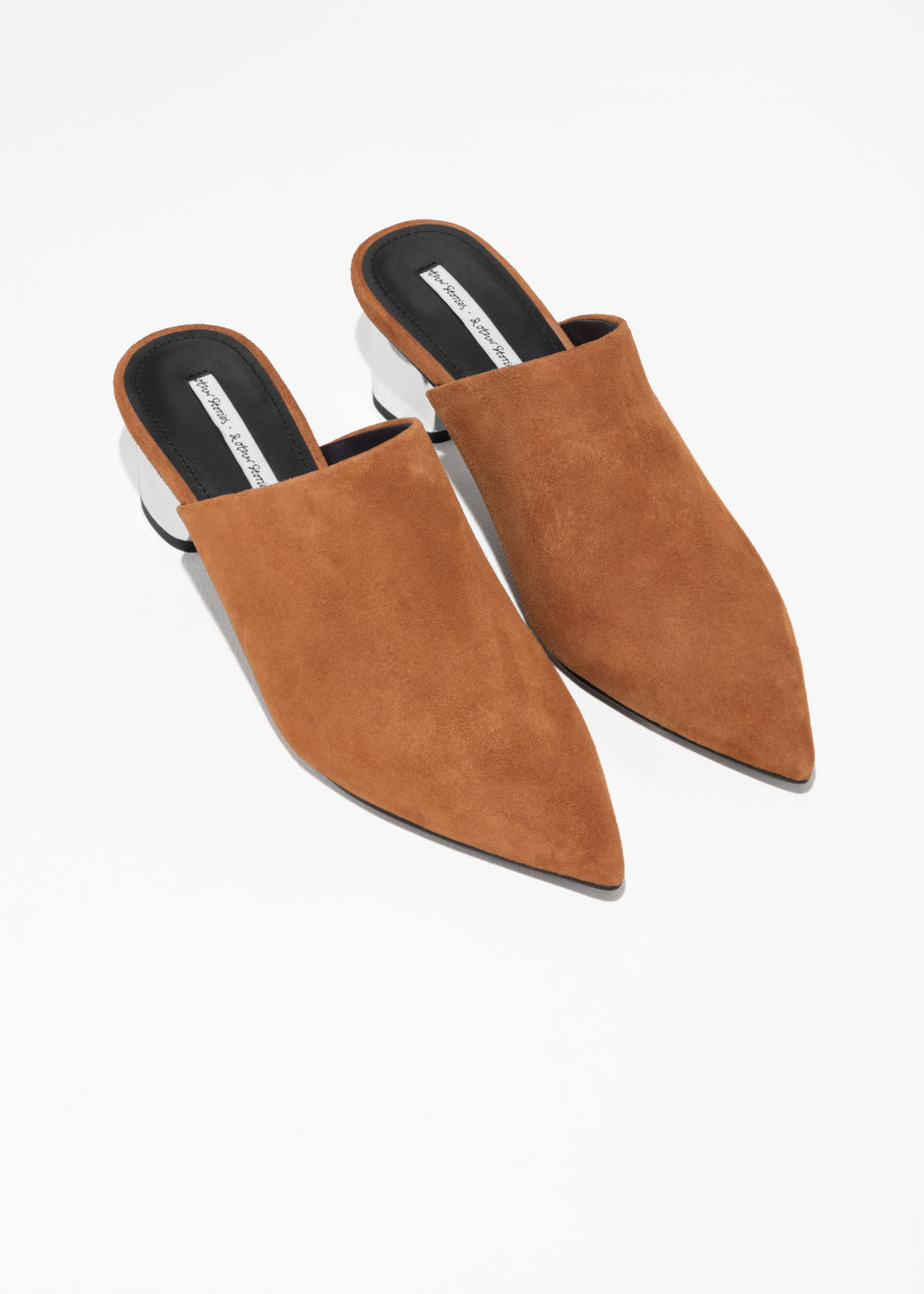 Back image of Stories pointed block heel mules  in brown