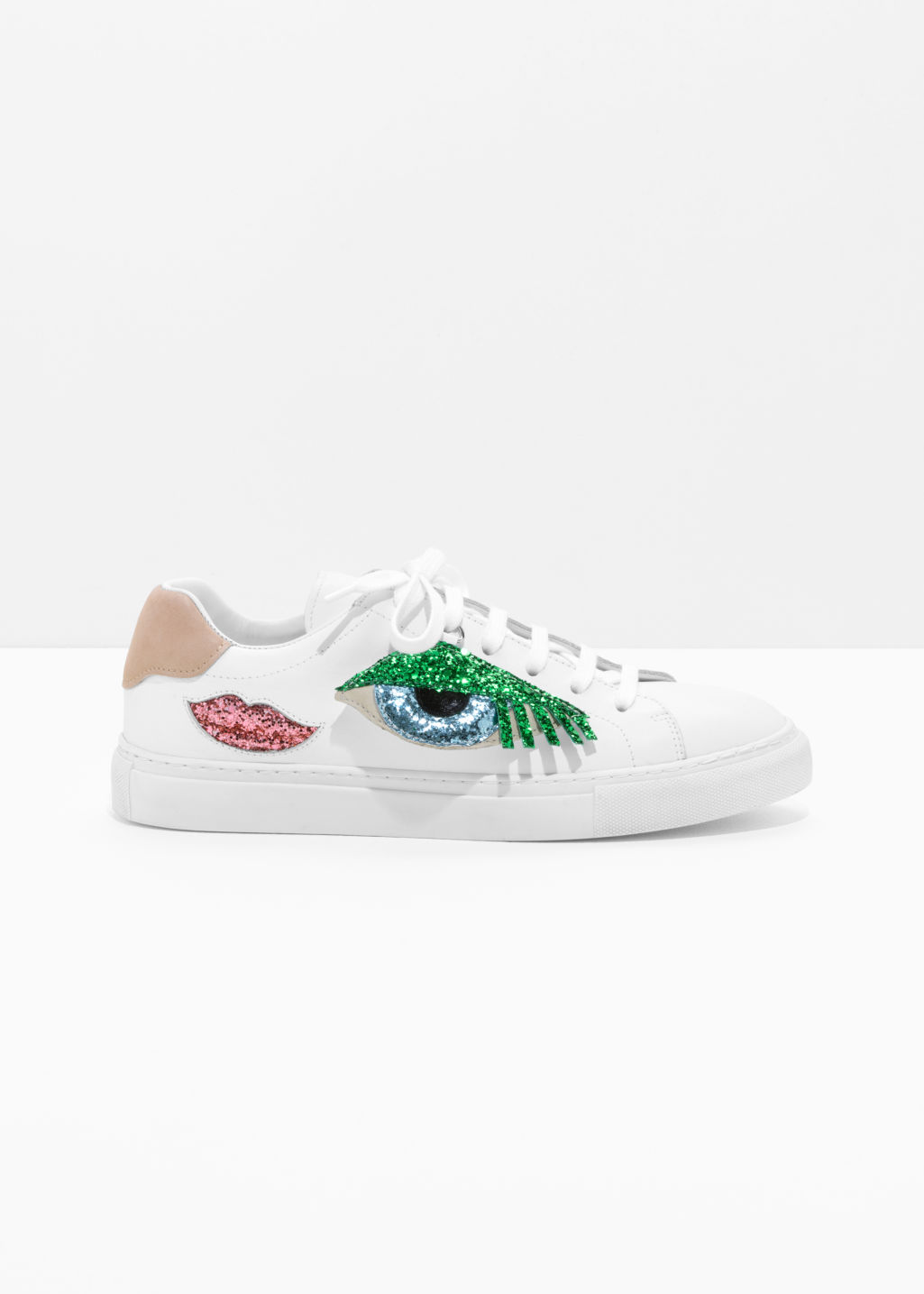 Front image of Stories glitter embellished sneakers in white