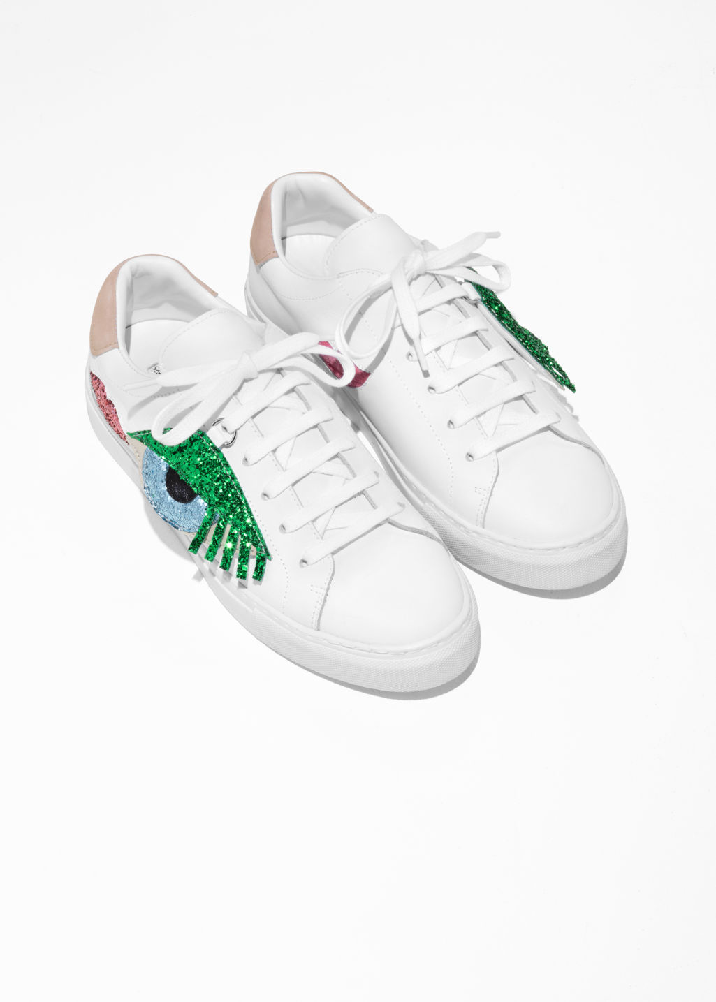 Back image of Stories glitter embellished sneakers in white