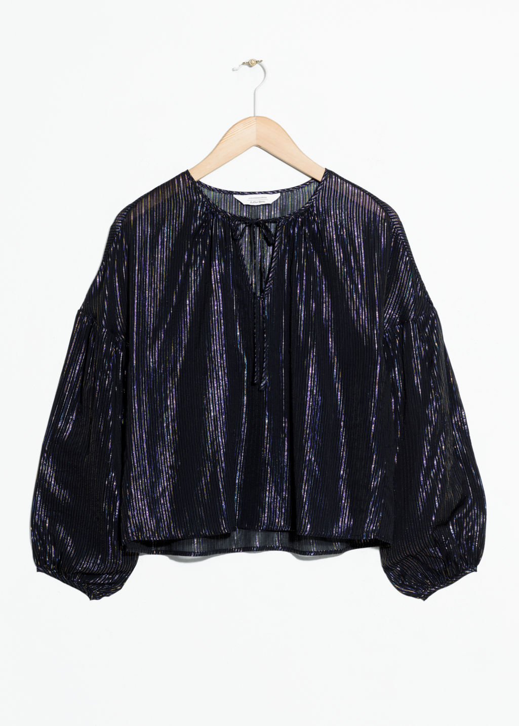 Front image of Stories  balloon sleeve blouse in black