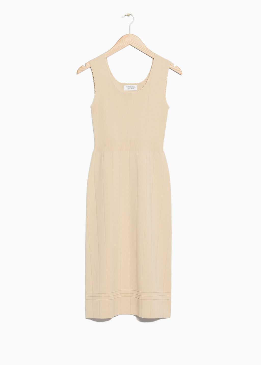 Front image of Stories knitted dress in beige