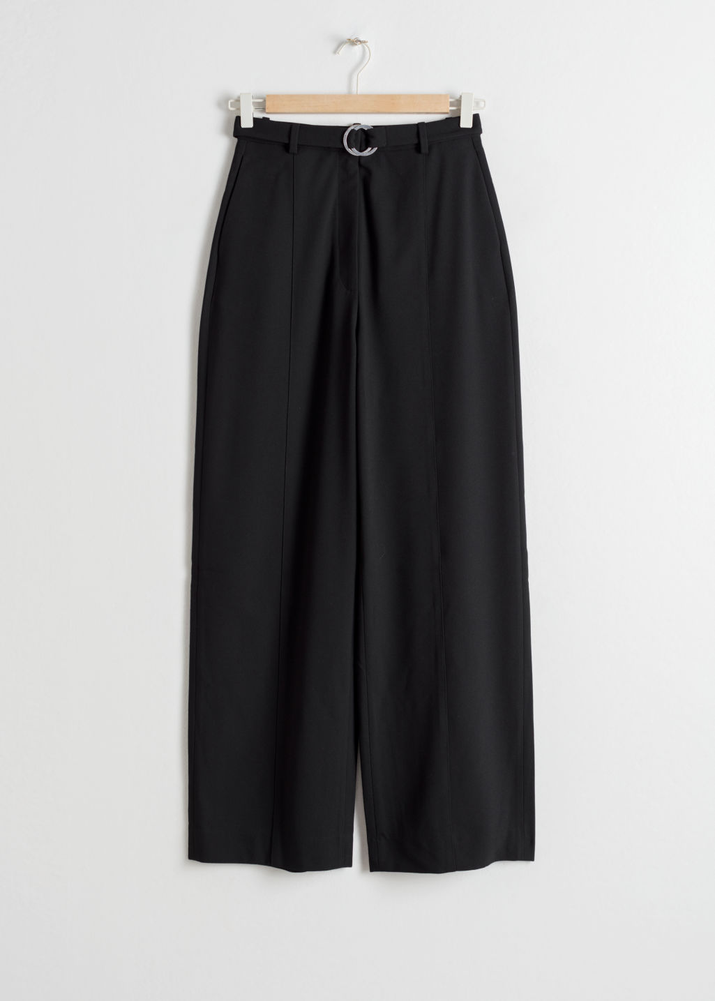 Front image of Stories duo o-ring belted trousers in black
