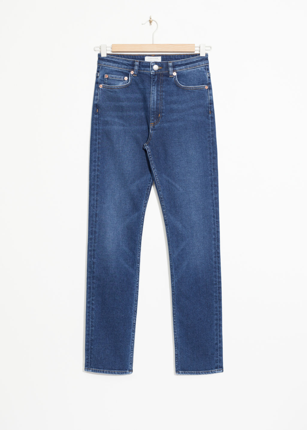 Front image of Stories straight slim fit jeans in blue