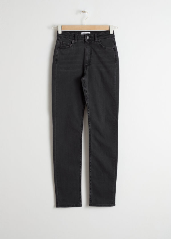 Front image of Stories straight slim fit jeans in grey