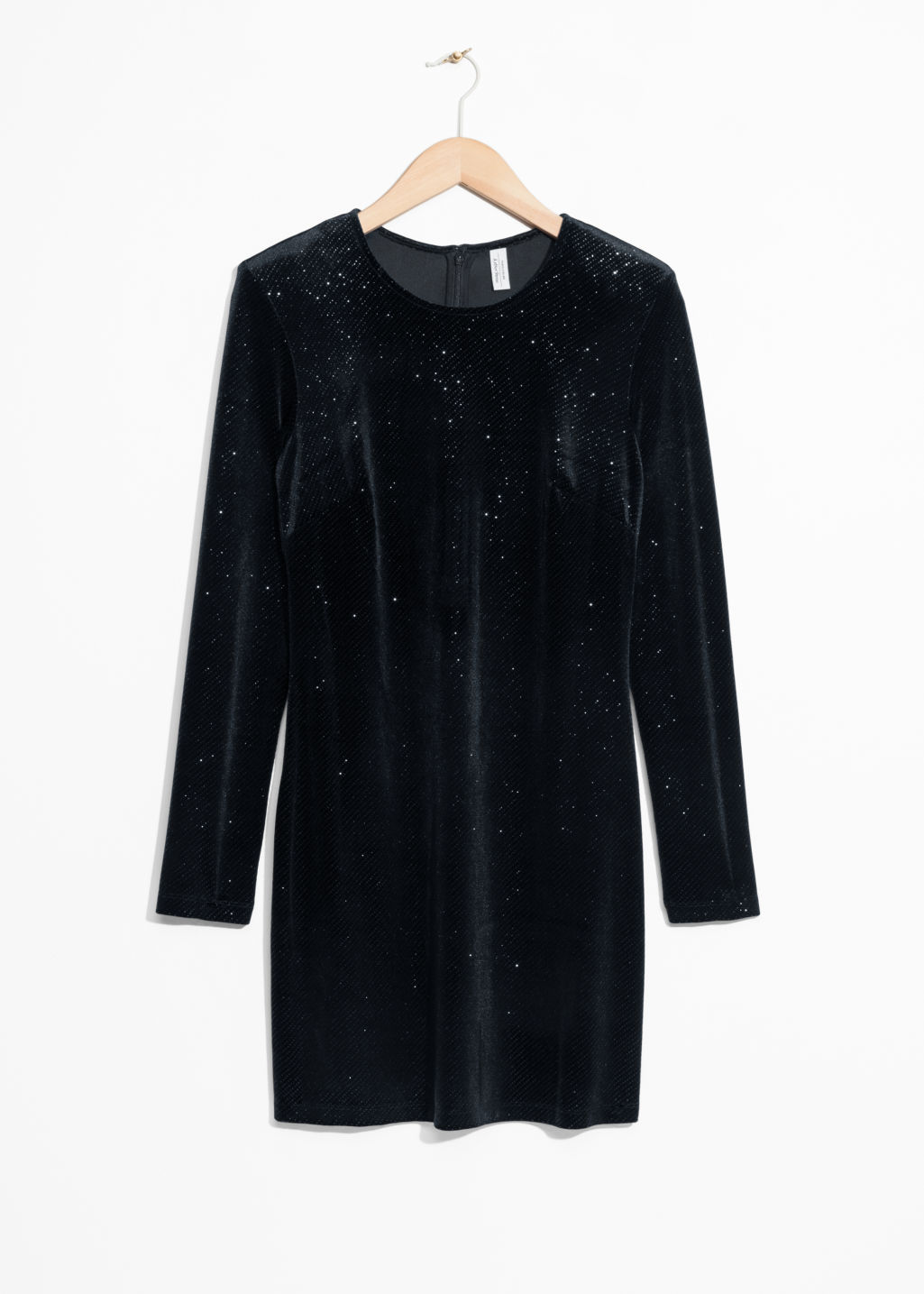 Front image of Stories sparkling velour dress in black