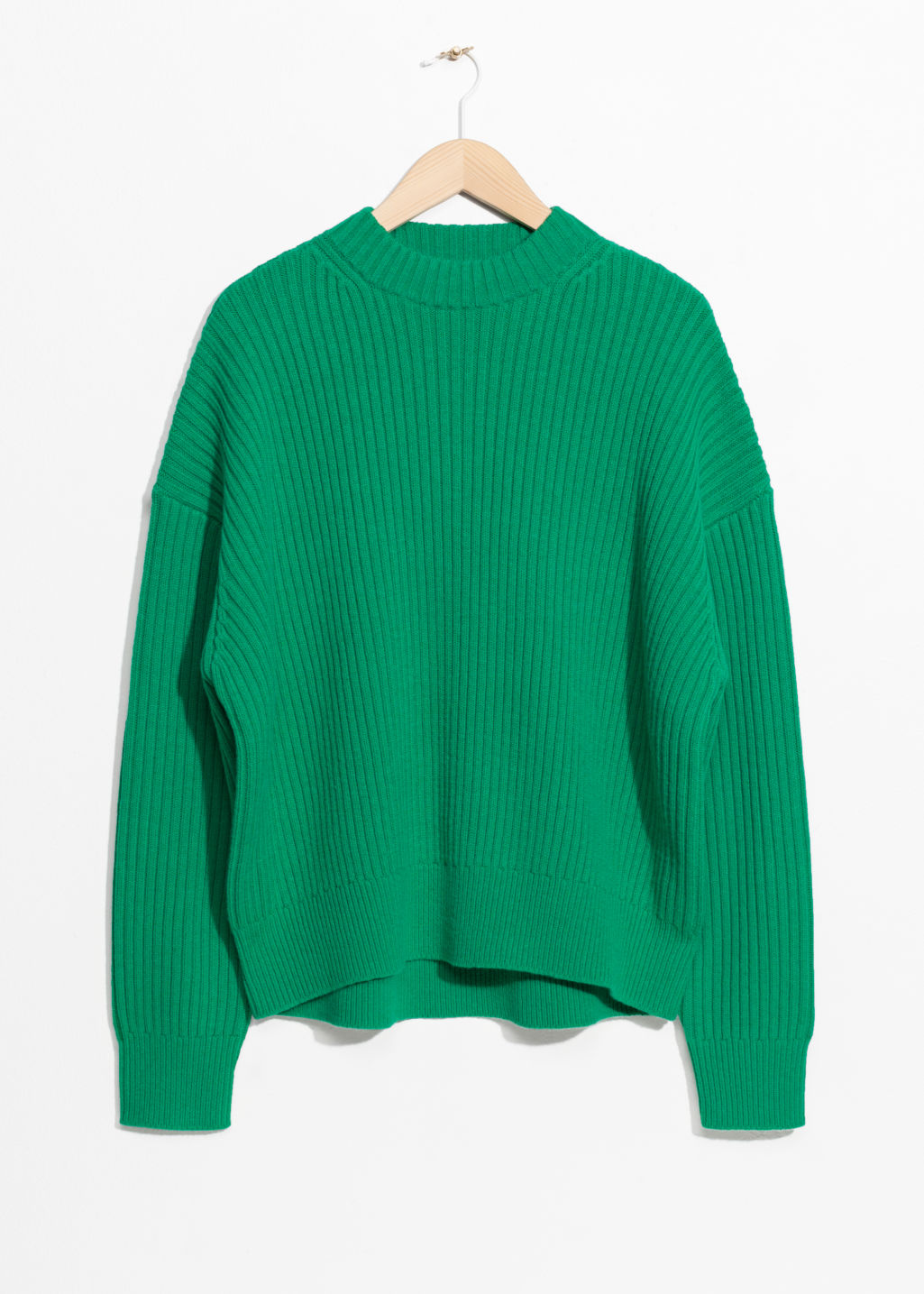 Front image of Stories oversized straight sweater in green