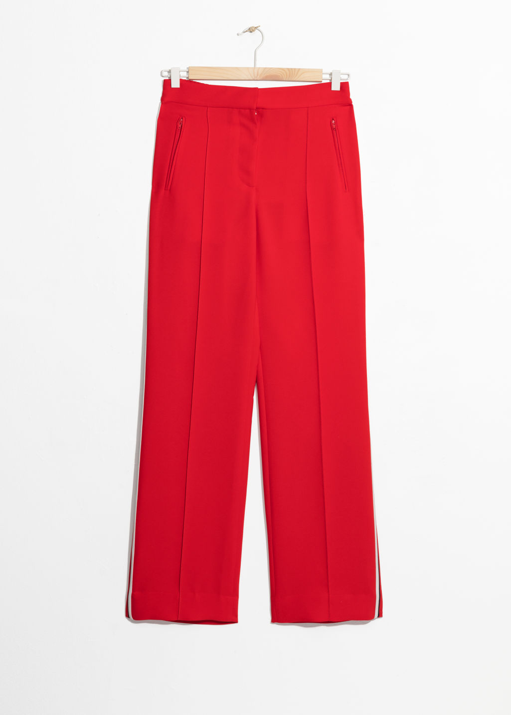Front image of Stories racer stripe trousers in red