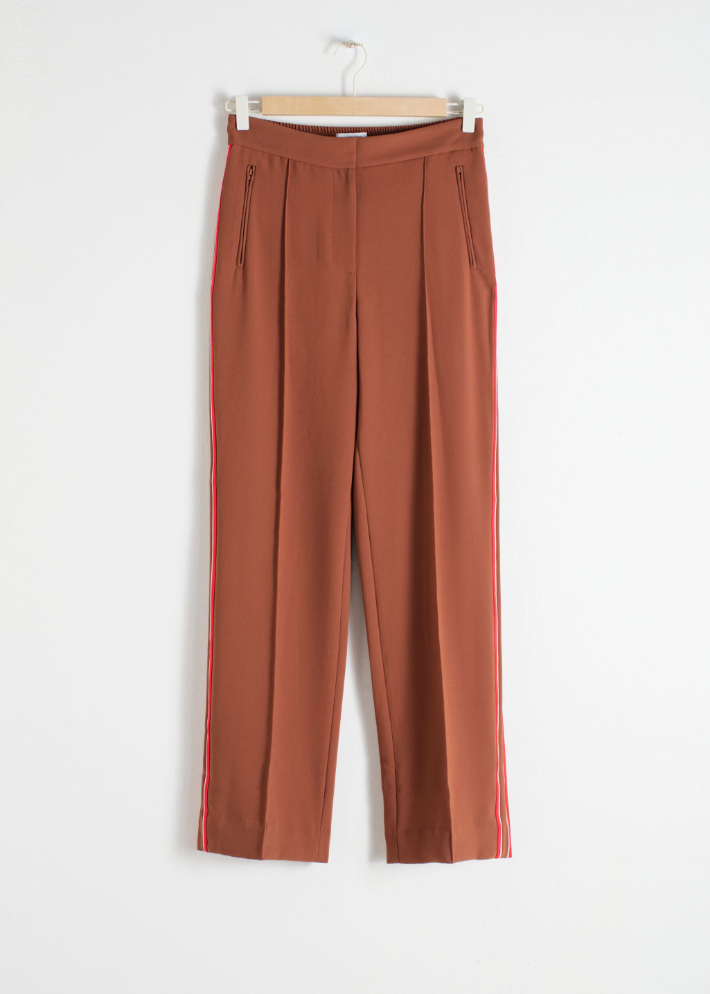Front image of Stories racer stripe trousers in brown
