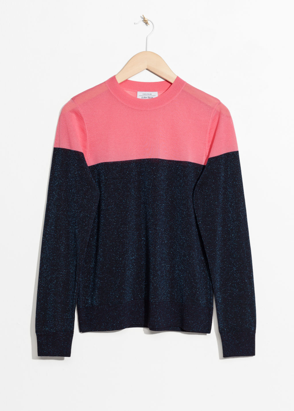 Front image of Stories colour block sweater in blue