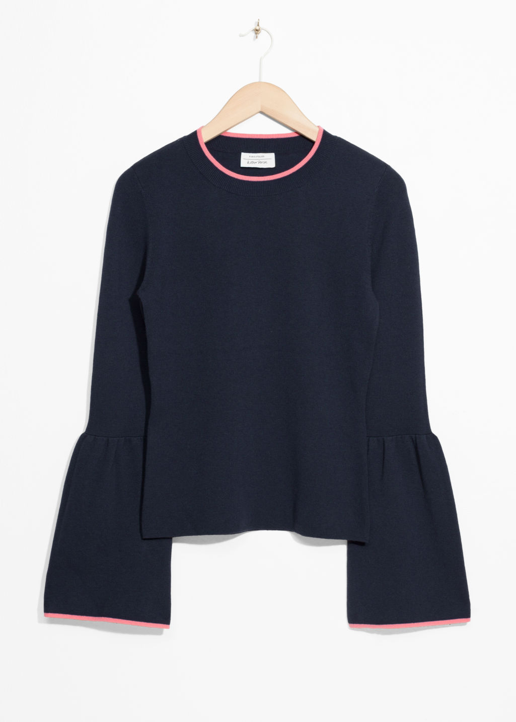 Front image of Stories bell sleeve sweater in blue