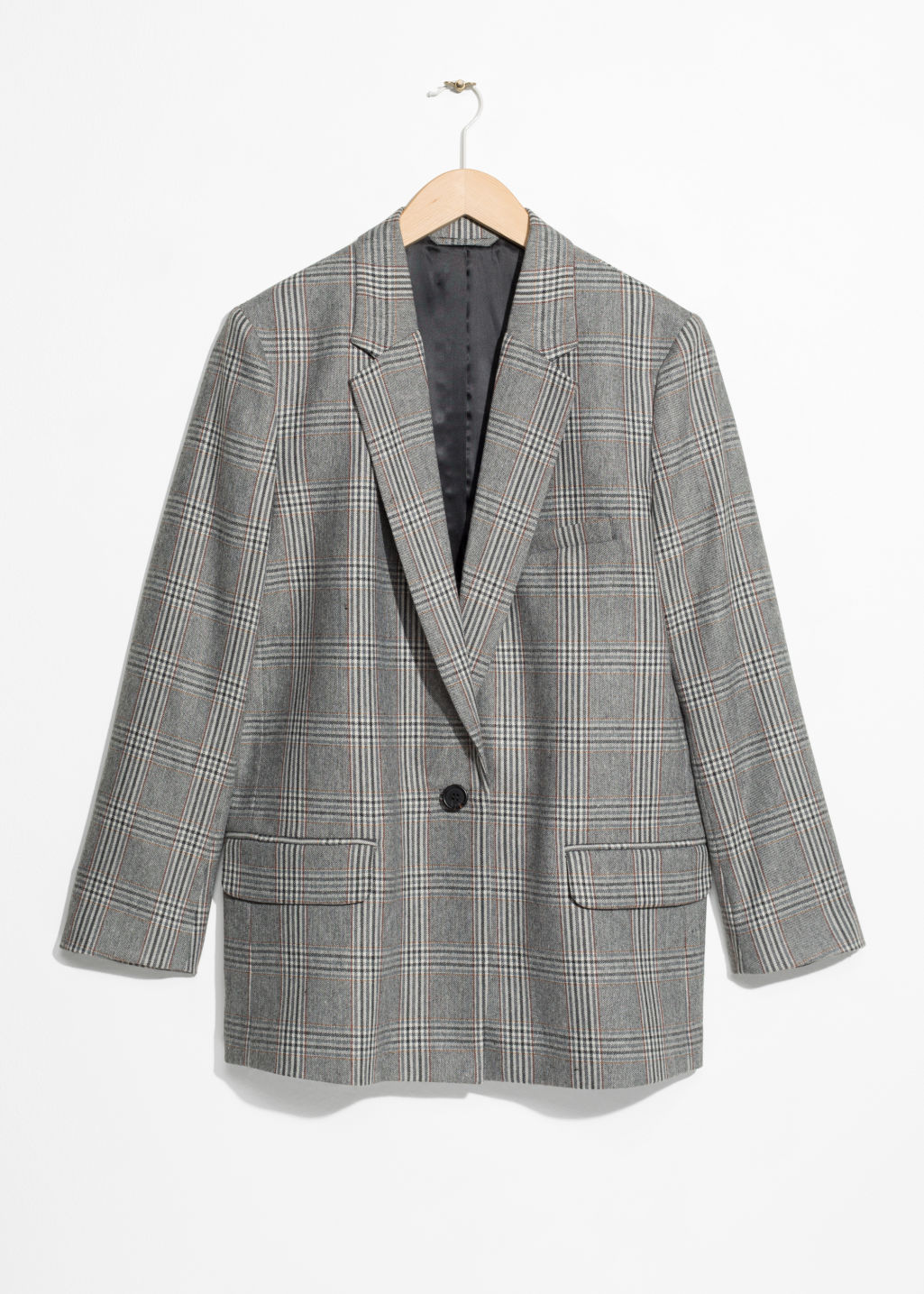 Front image of Stories tapered blazer in grey