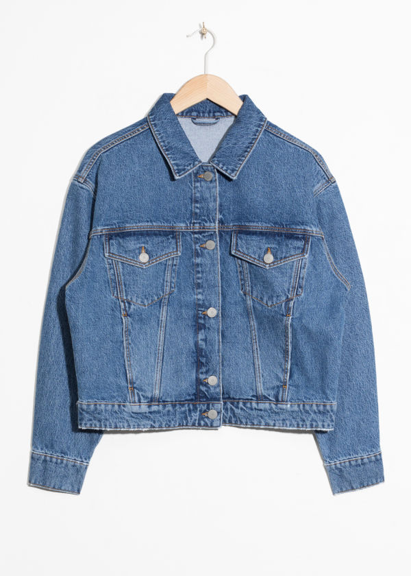 Front image of Stories cropped denim jacket in blue