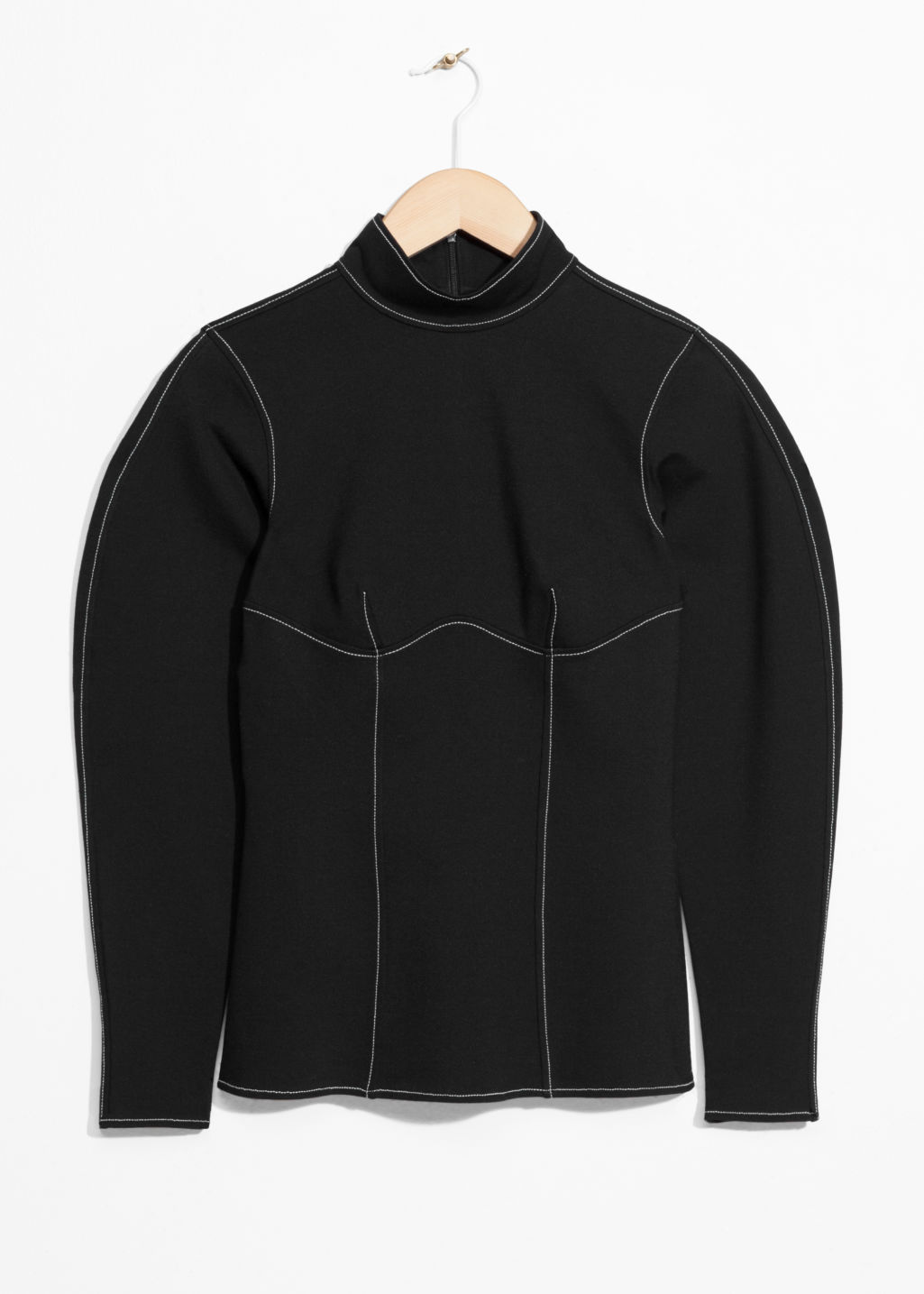 Front image of Stories slim sweater in black