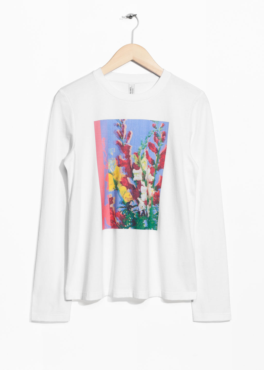 Front image of Stories floral graphic long tee in white