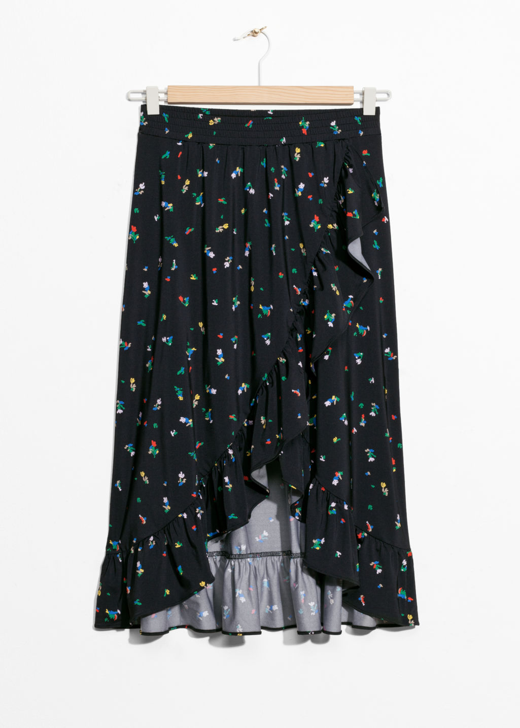 Front image of Stories printed cascade skirt in black