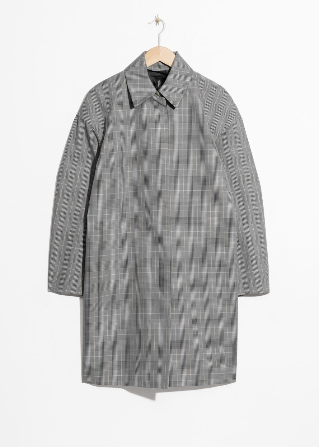 Front image of Stories plaid cacoon coat in grey