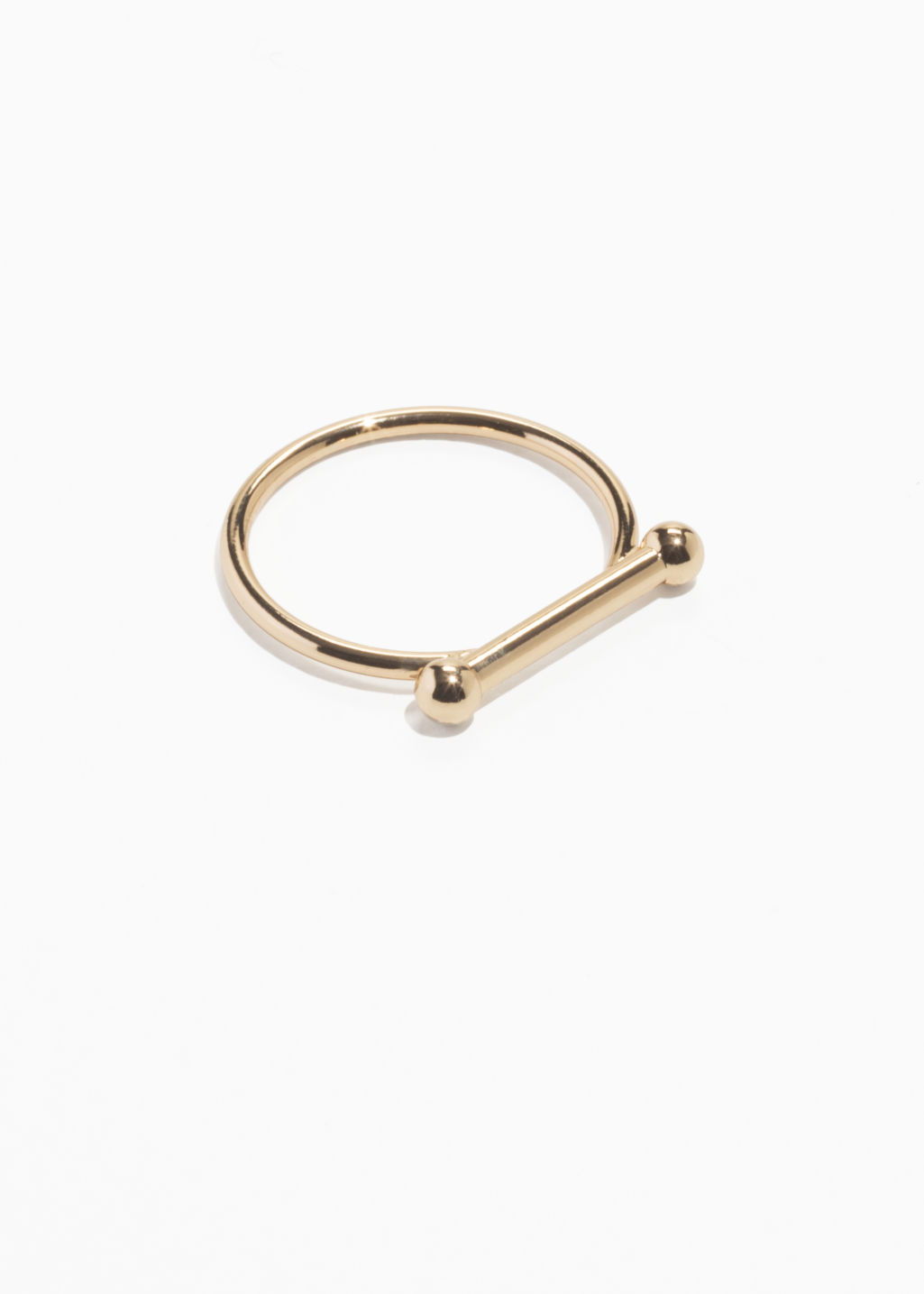 Front image of Stories ball bar ring in gold