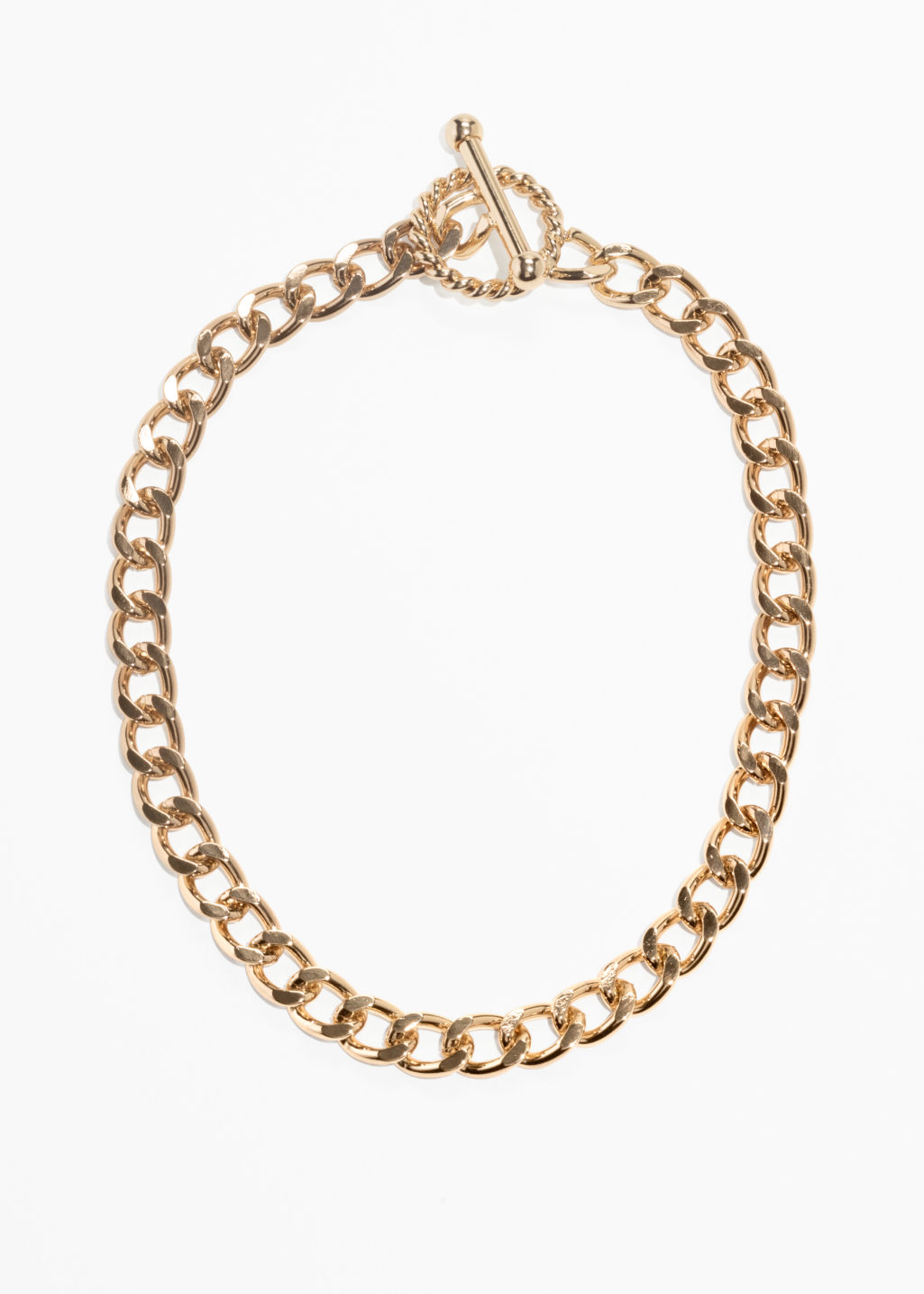 Front image of Stories circle bar chain bracelet  in gold