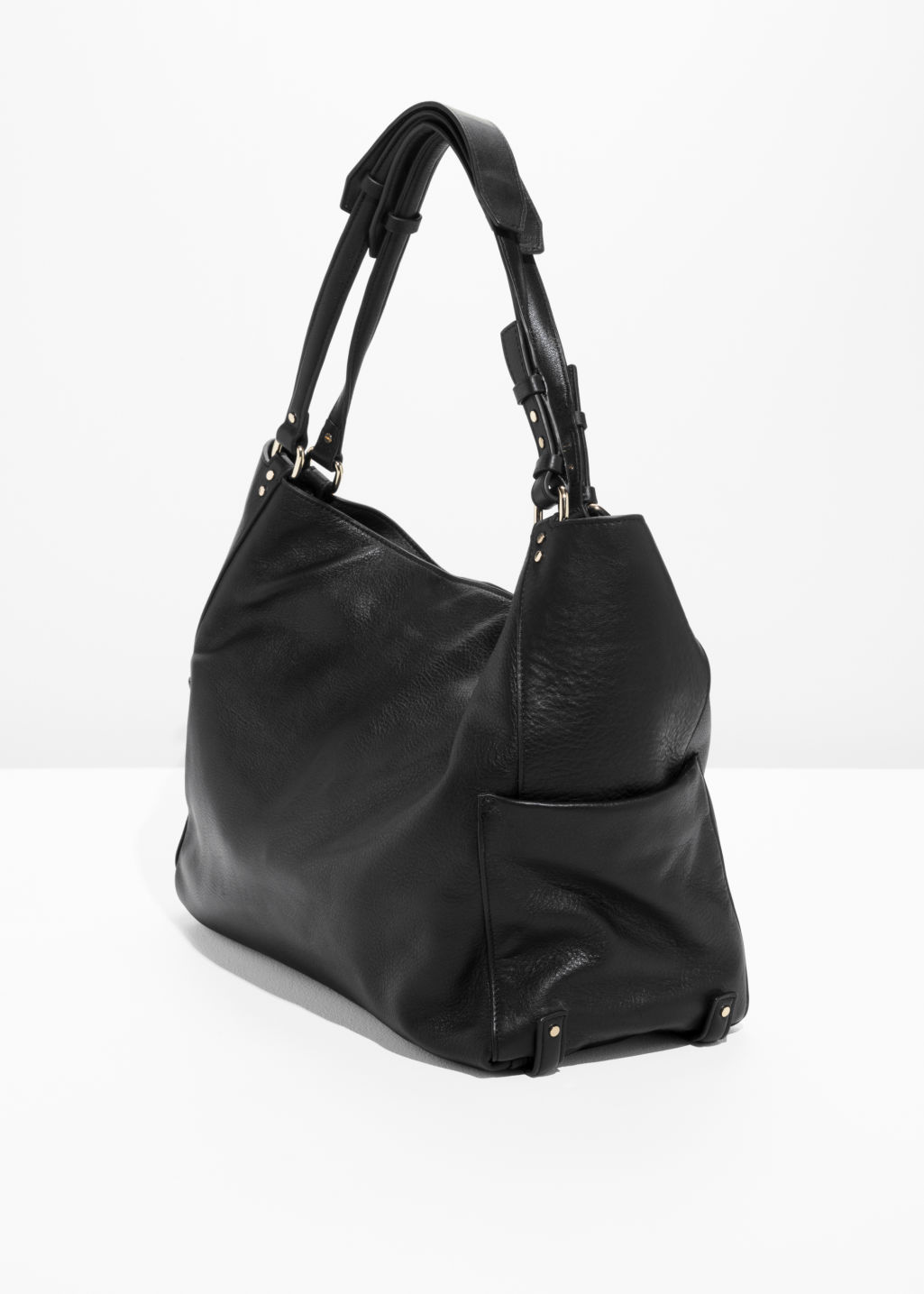 Back image of Stories double strap leather hobo bag in black