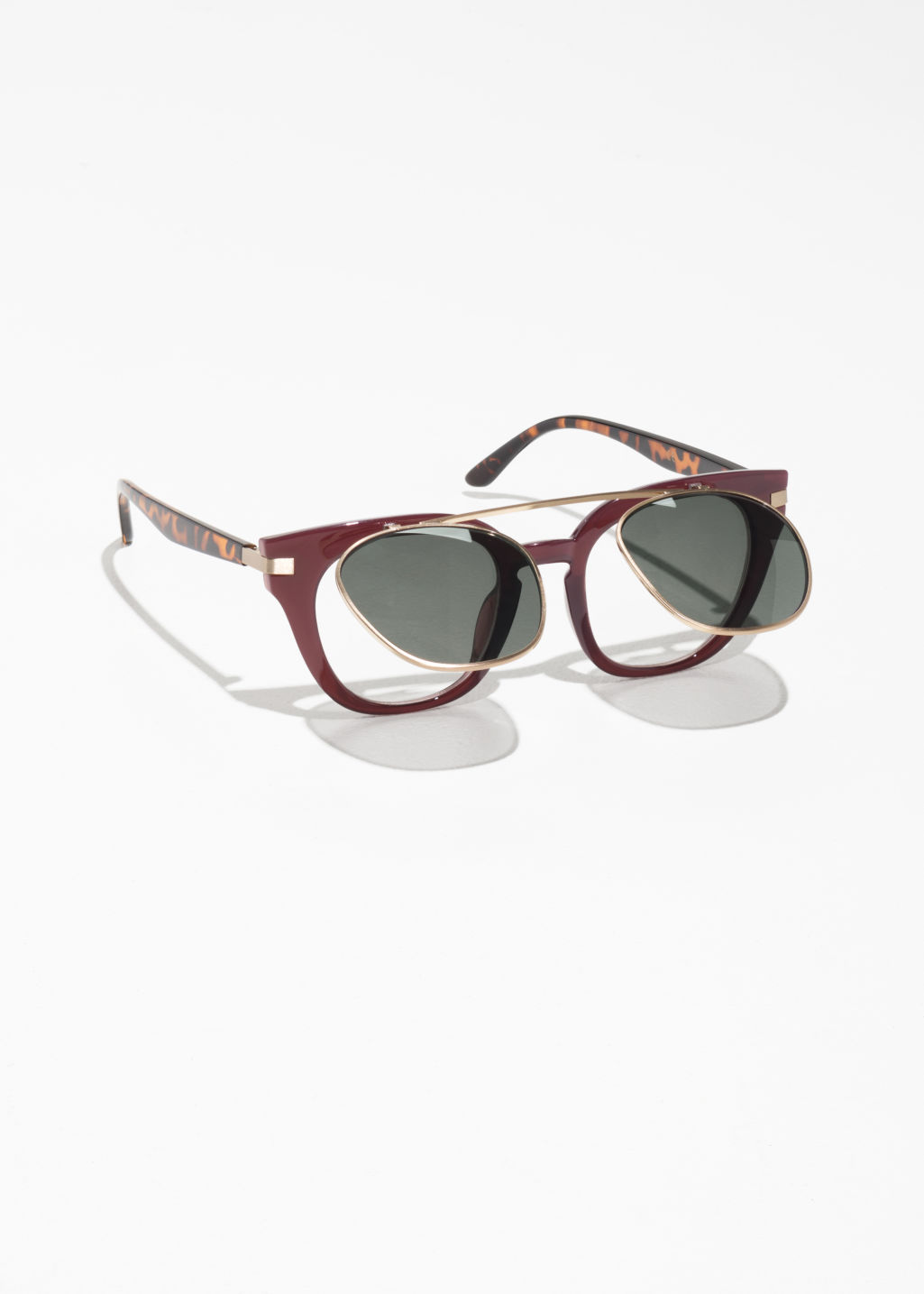 Back image of Stories flip-up sunglasses in red