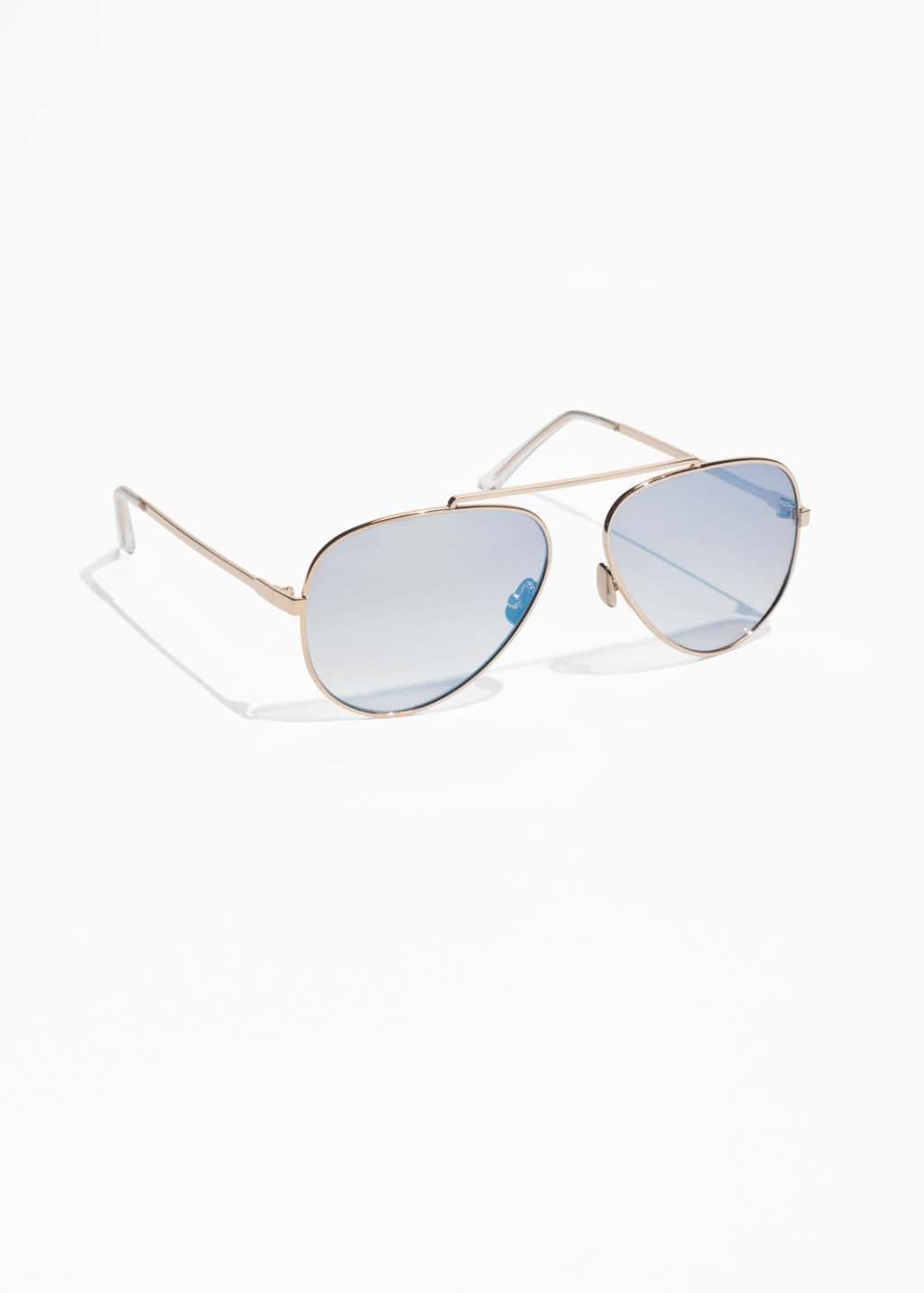 Front image of Stories tinted aviator sunglasses in blue