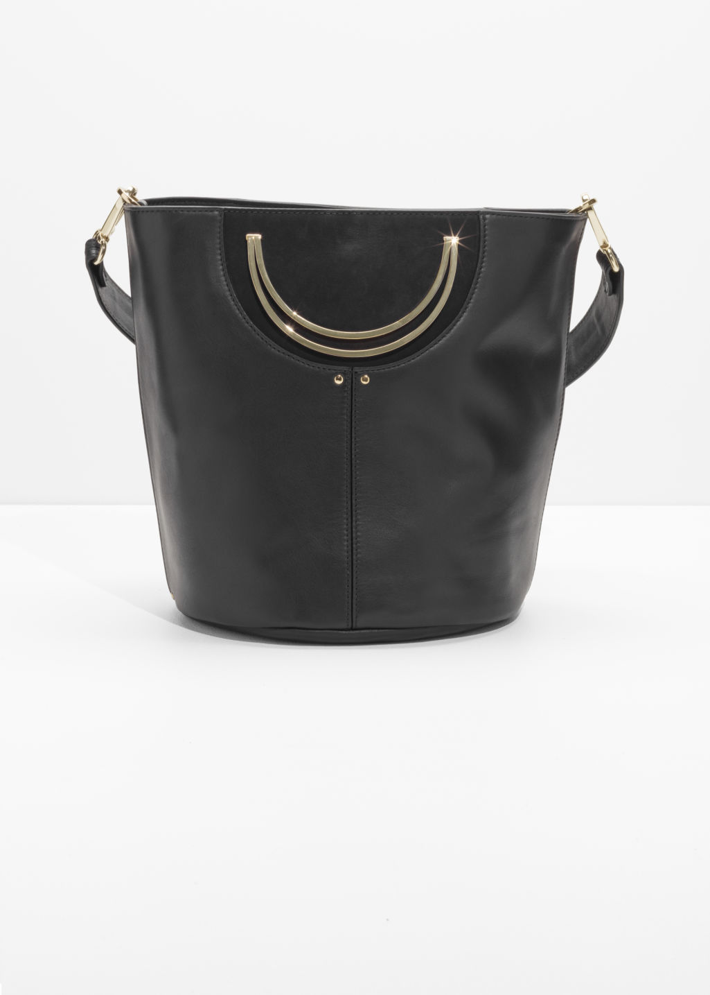 Front image of Stories leather bucket bag in black