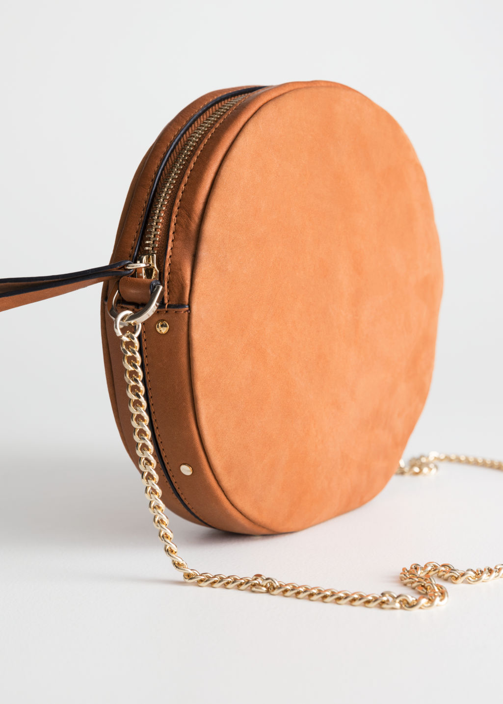 Back image of Stories small leather circle bag in beige