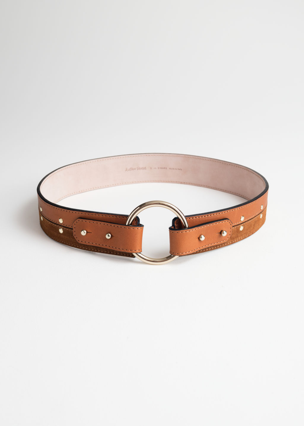 Front image of Stories studded waist belt in beige