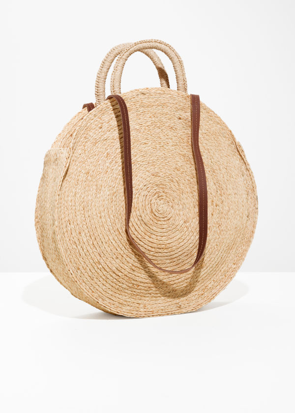 Front image of Stories straw circle bag in beige