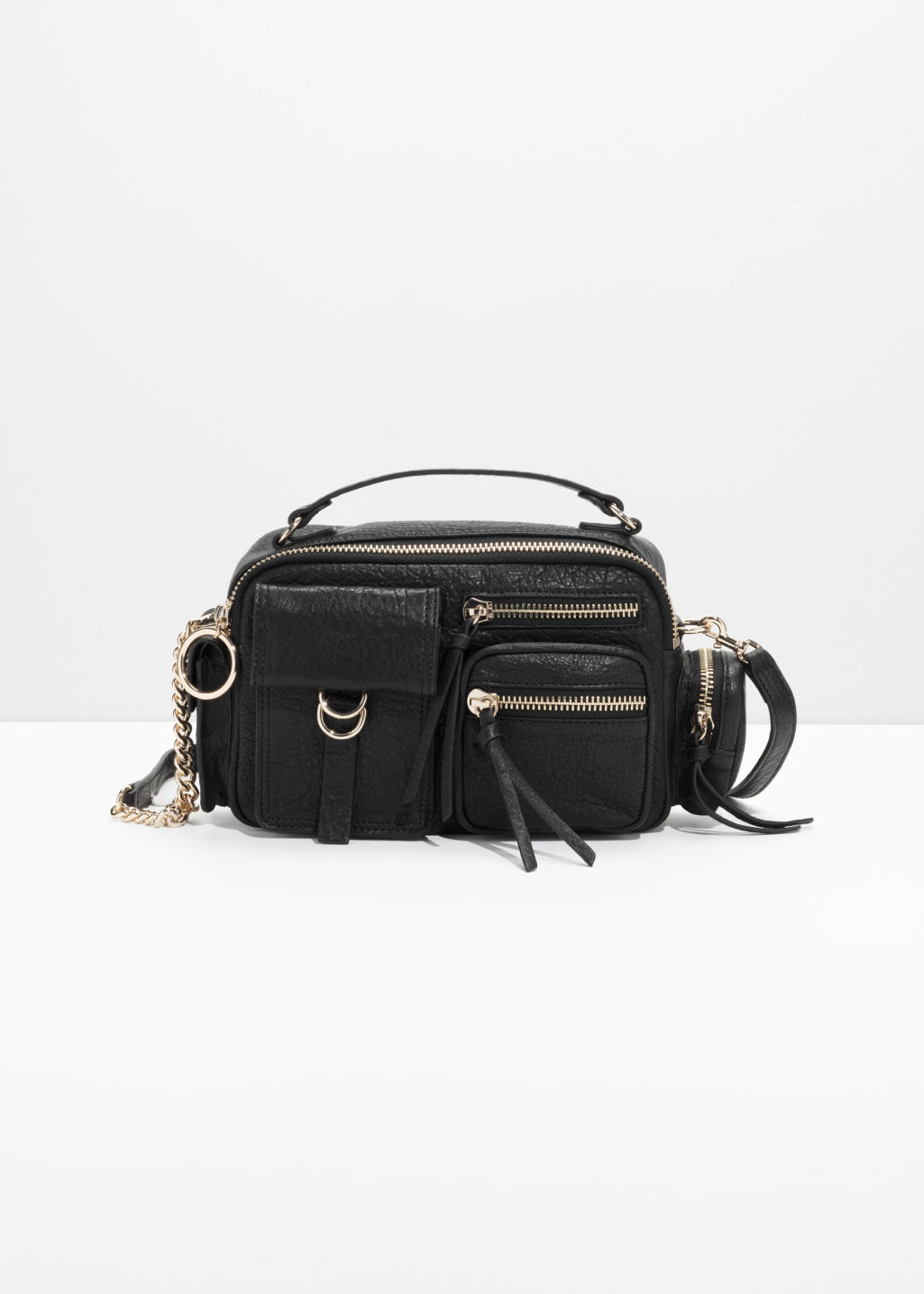 Front image of Stories six pocket satchel bag in black