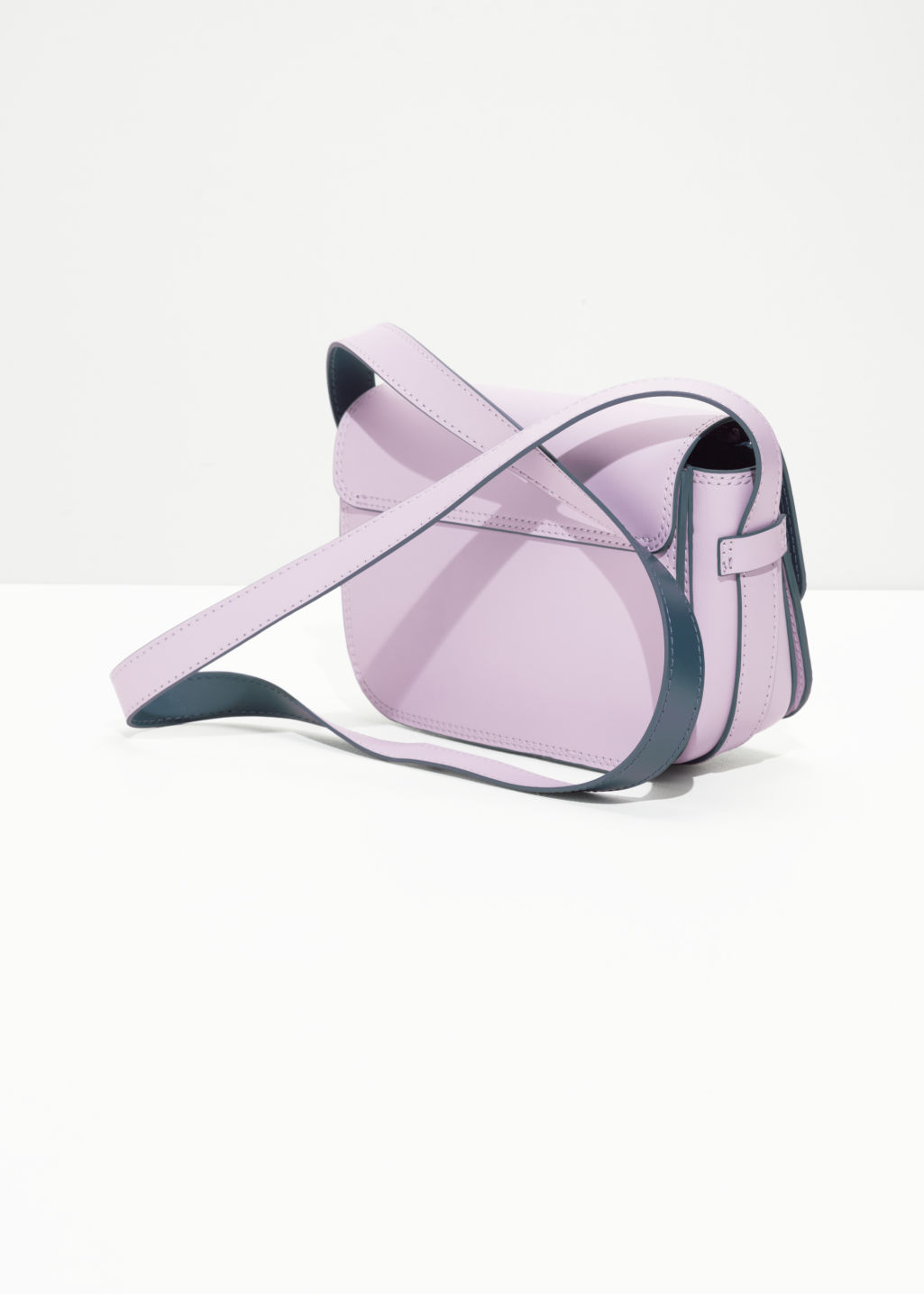 Back image of Stories mini snap saddle bag in pink