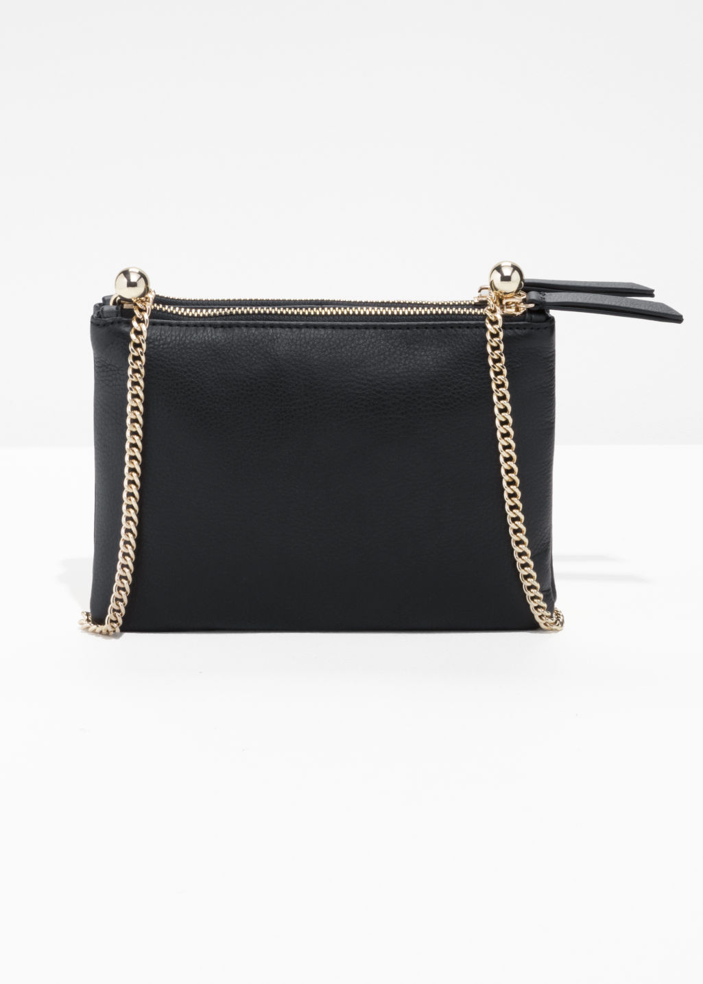 Front image of Stories ball leather shoulder bag  in black
