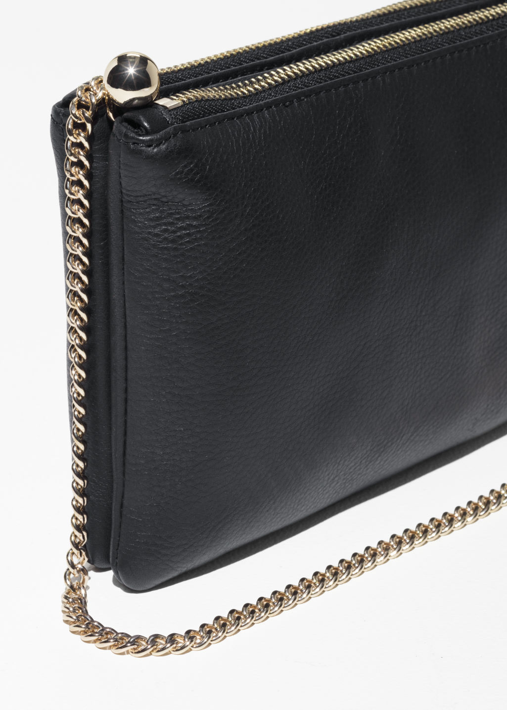 Back image of Stories ball leather shoulder bag  in black