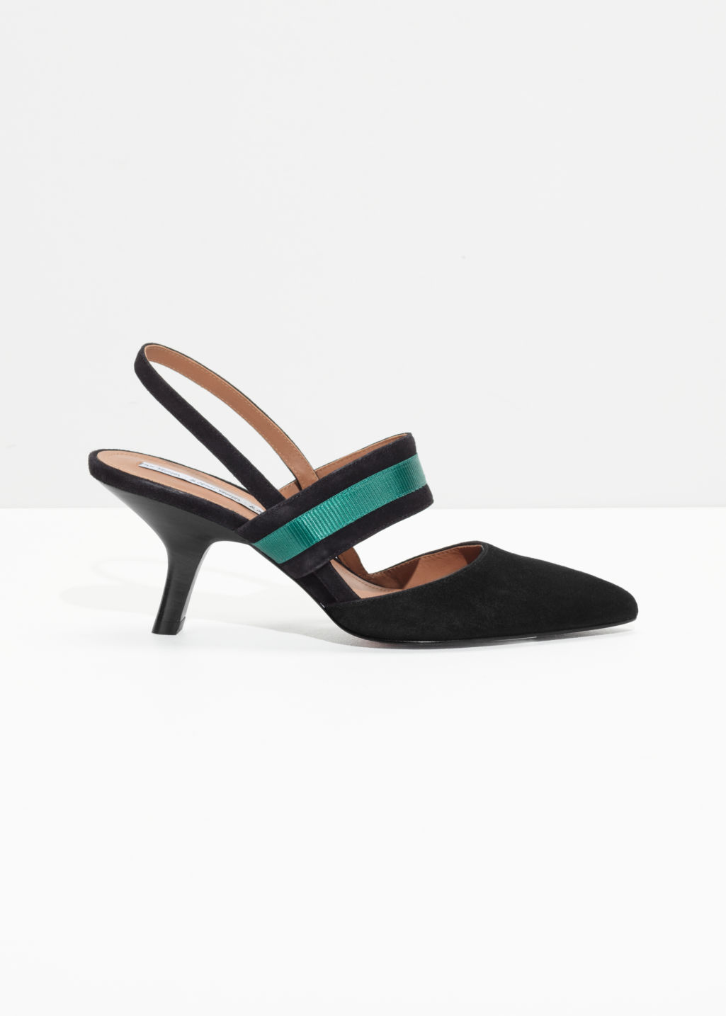 Front image of Stories pointed slingbacks  in black