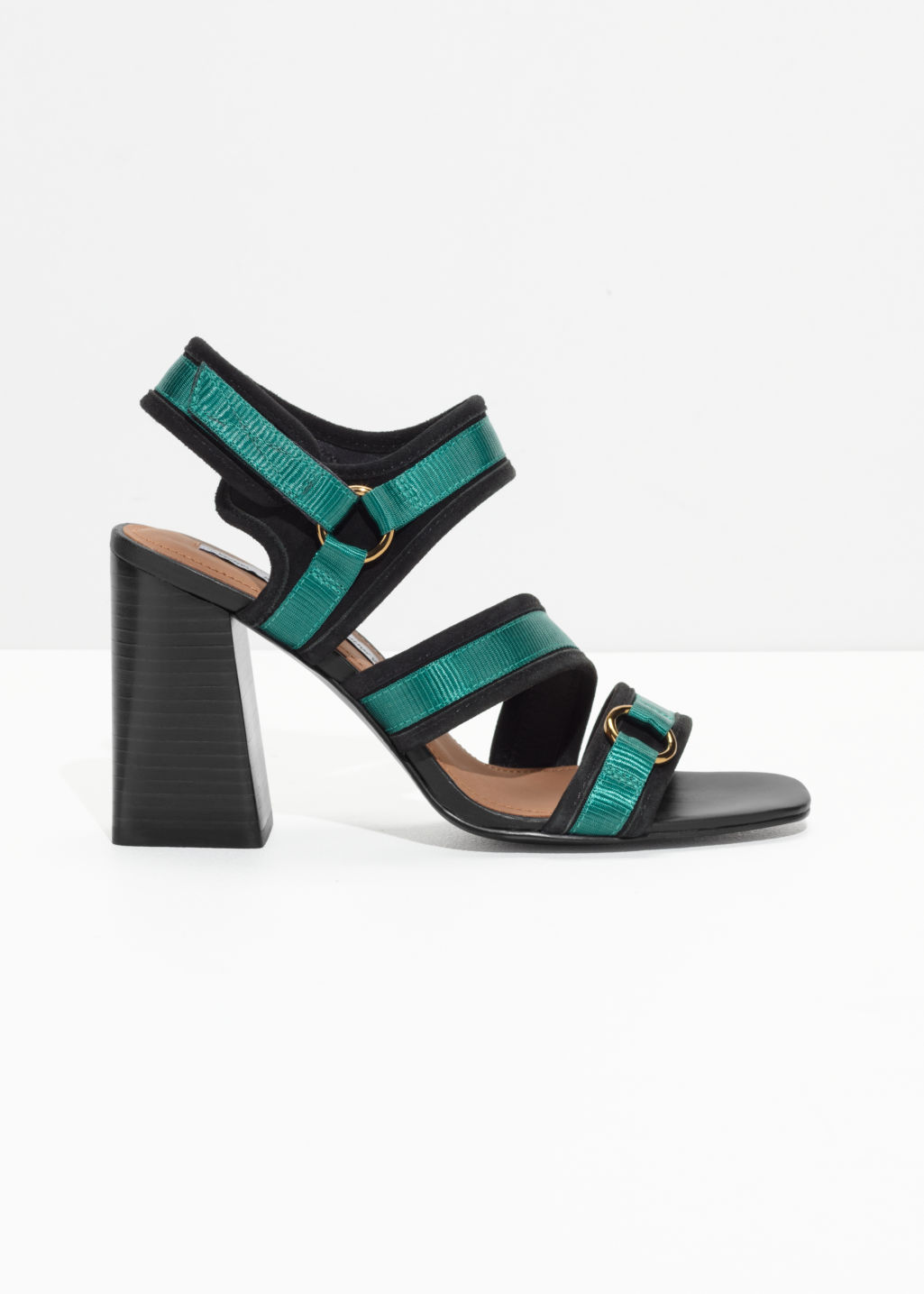 Front image of Stories square toe sandalettes in black