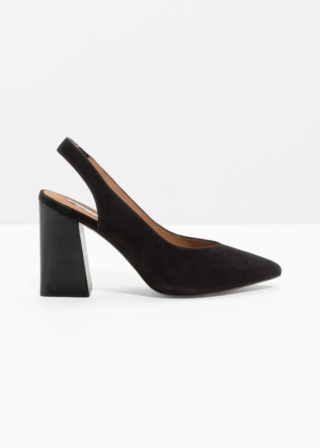 Front image of Stories pointed slingback pumps in black