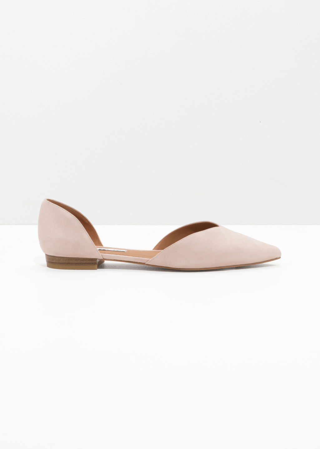 Front image of Stories pointed ballerina flats in pink